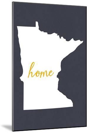 Minnesota - Home State - White on Gray-Lantern Press-Mounted Art Print