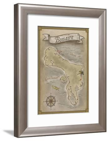 Bonaire, Dutch Caribbean - Treasure Map-Lantern Press-Framed Art Print