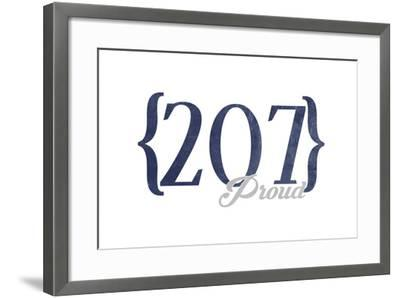 Bangor, Maine - 207 Area Code (Blue)-Lantern Press-Framed Art Print