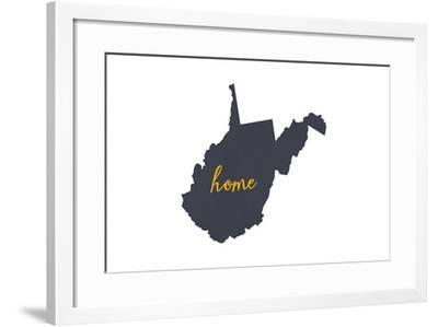 West Virginia - Home State - Gray on White-Lantern Press-Framed Art Print