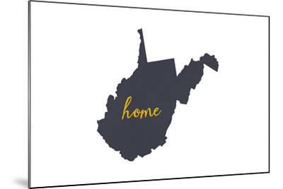 West Virginia - Home State - Gray on White-Lantern Press-Mounted Art Print