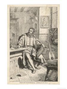 Martin Luther at Work on His Translation of the Bible into German by U. Roat