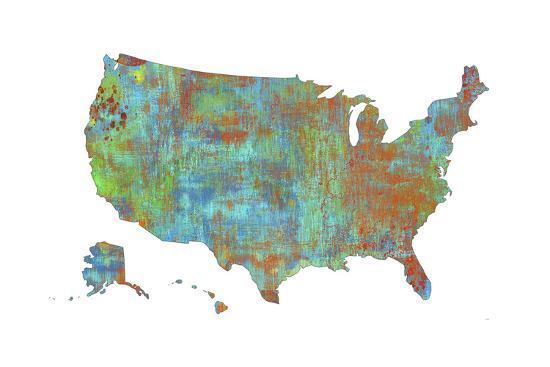 U.S.A. Map 3-Marlene Watson-Giclee Print