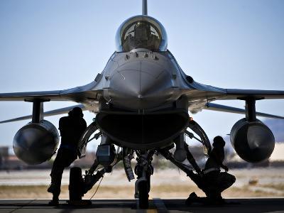 U.S. Air Force Crew Chiefs Do Pre-flight Checks Under An F-16 Fighting Falcon-Stocktrek Images-Photographic Print