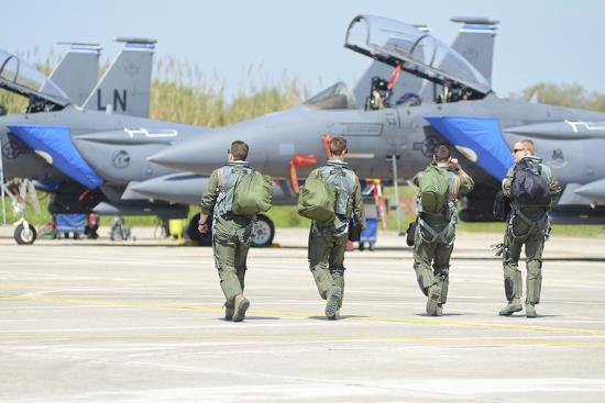 U.S. Air Force F-15E Strike Eagle Pilots Walking to their Jets-Stocktrek Images-Photographic Print