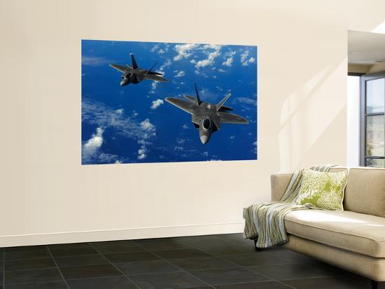 U.S. Air Force F-22 Raptors in Flight Near Guam-Stocktrek Images-Giant Art Print