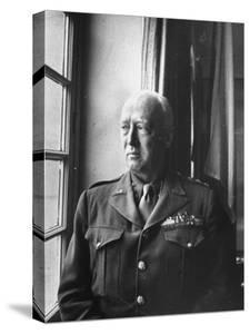 U.S. Army General George Patton Gazing Thoughfully Out of Window