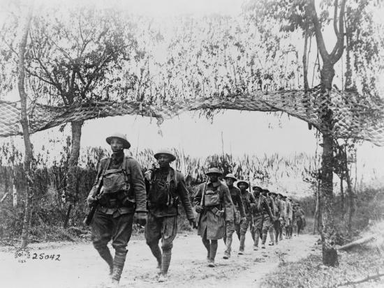 U.S. Army Infantry Troops Marching Northwest of Verdun, France, in World War I, 1918--Photo