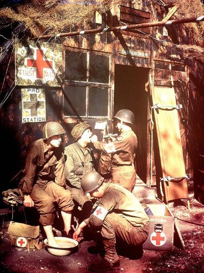 U.S. Army Medics are Treating Two Gis, Southern England, 1944--Photographic Print