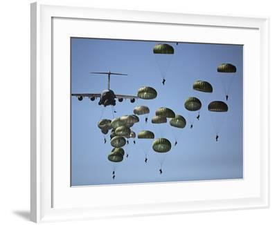 U.S. Army Paratroopers Jumping Out of a C-17 Globemaster III Aircraft-Stocktrek Images-Framed Photographic Print