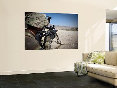 U.S. Army Sniper Pulls Security Using an Mk14 Enhanced Battle Rifle-Stocktrek Images-Wall Mural