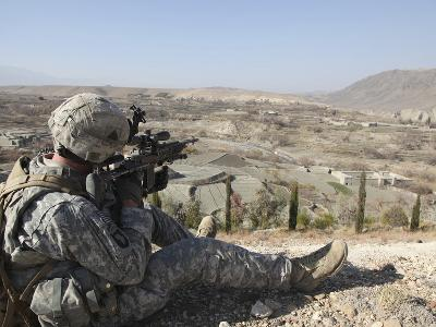 U.S Army Soldier Scans His Sector of Fire with His M14 Rifle in Afghanistan-Stocktrek Images-Photographic Print