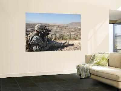 U.S Army Soldier Scans His Sector of Fire with His M14 Rifle in Afghanistan-Stocktrek Images-Wall Mural