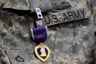U.S. Army Soldier Wears the Purple Heart Medal-Michael Reynolds-Photographic Print