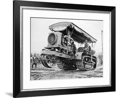 U.S. Army Soldiers Driving Tractor-William Fox-Framed Photographic Print