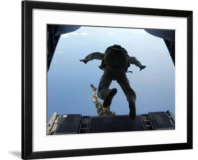 U.S. Army Soldiers Perform HALO Jumps Out of a CH-46E Sea Knight Helicopter-Stocktrek Images-Framed Photographic Print