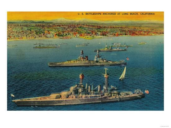U.S. Battleships Anchored at Long Beach - Long Beach, CA-Lantern Press-Art Print