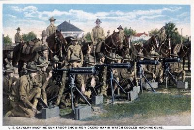 U. S. Cavalry Machine Gun Troop Showing Vickers-Maxim Watch Cooled Machine Guns, 1916--Giclee Print