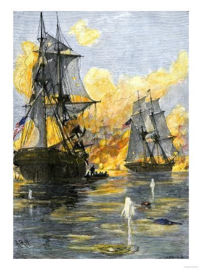 U.S. Fleet of Oliver H. Perry during His Naval Victory over the British on Lake Erie in 1813--Giclee Print