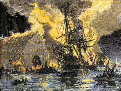 U.S. Frigate, Merrimac, on Fire during Confederate Burning of Gosport Navy Yard, Virginia, c.1862--Giclee Print