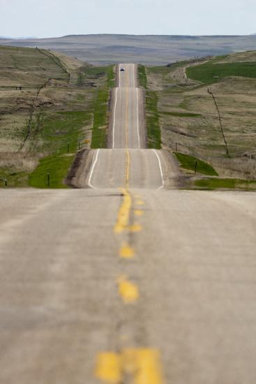 U.S. Highway 85 Through Rolling Prairie in South Dakota-Paul Souders-Photographic Print