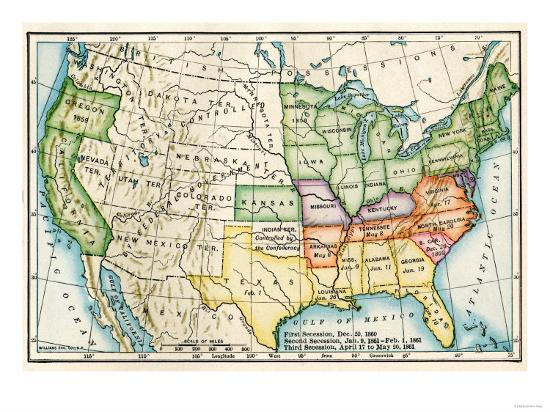 U.S. Map Showing Seceeding States by Date, American Civil War, c ...