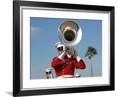 U.S. Marine Corps Drum And Bugle Corps Performing-Stocktrek Images-Framed Photographic Print