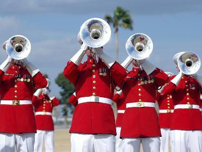 U.S. Marine Corps Drum And Bugle Corps Performing-Stocktrek Images-Photographic Print