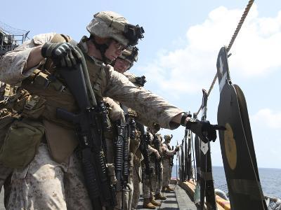 U.S. Marine Looks Over His Target During a Combat Marksmanship Program-Stocktrek Images-Photographic Print