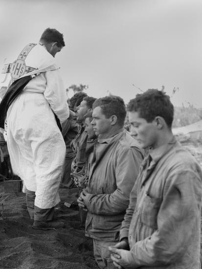 U.S. Marines and a Chaplain Celebrate Catholic Communion During the Battle of Iwo Jima--Photo