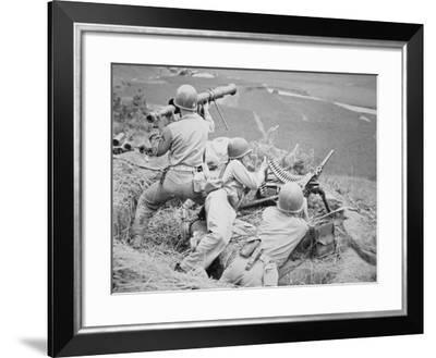 U.S. Marines Cover a Korean Road with Bazooka and Machine-Gun, November 1950--Framed Photographic Print