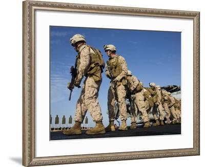 U.S. Marines Pivot into Position During a Live-Fire Exercise--Framed Photographic Print