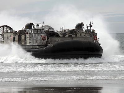 U.S. Navy Landing Craft Air Cushion Makes a Beach Landing-Stocktrek Images-Photographic Print
