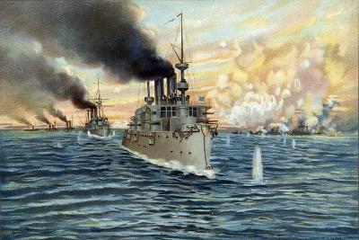 U.S. Navy - Naval Battle of Manila - May 1st, 1898-Werner-Giclee Print