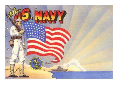 U.S. Navy Sailor with Flag and Ship--Art Print