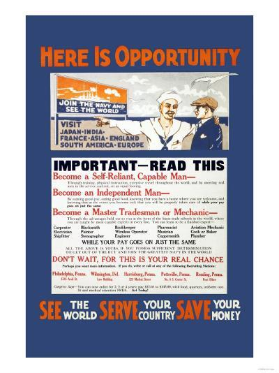 U.S. Navy: See the World, Serve your Country, Save your Money, c.1914--Art Print