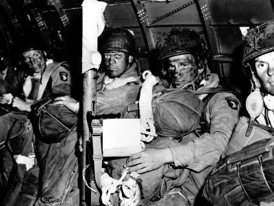 U.S. Paratroopers with Blackened Faces in a C-47 Transport Aircraft on D-Day--Photo