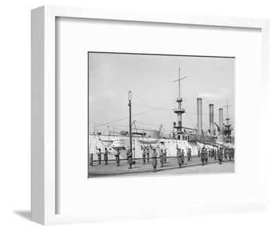 U.S.S. Brooklyn, Marine Guard, Signal Drill--Framed Photo