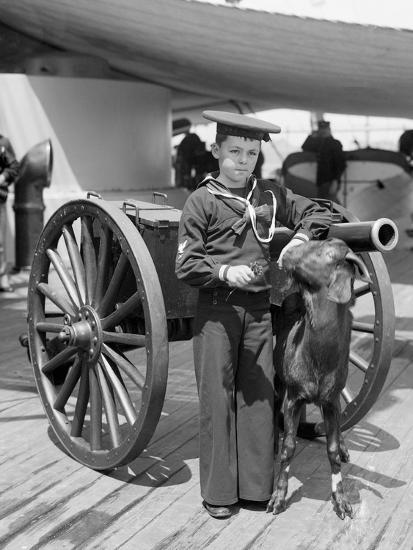 U.S.S. New York, Admiral Sampsons Son and Pitch the Mascot--Photo