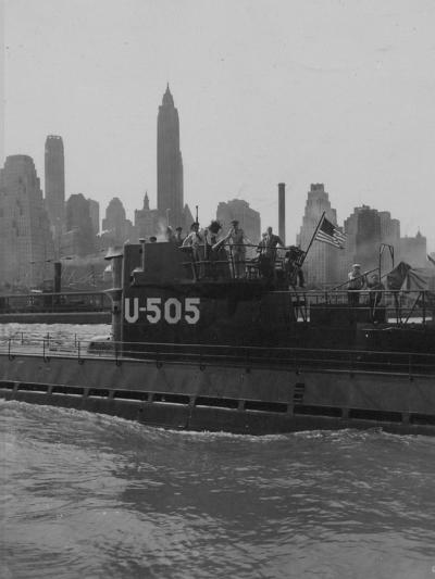 U.S.S. U-505 with Empire State Building--Photographic Print