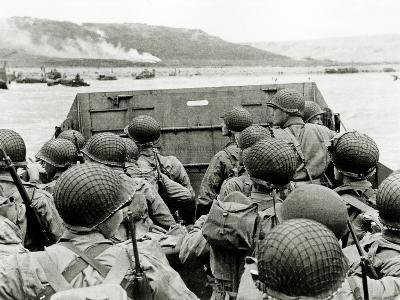 U.S. Soldiers Watch the Normandy Coast from a Landing Craft Vehicle, Personnel--Photographic Print