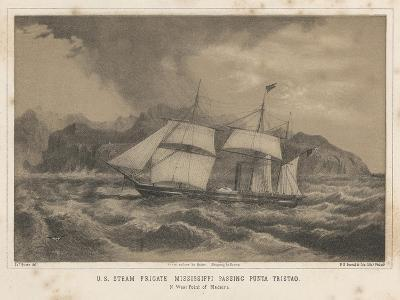 U.S. Steam Frigate Mississippi Passing Punta Tristao, 1855-Wilhelm Joseph Heine-Giclee Print