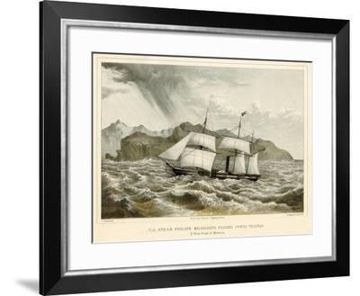 U.S. Steam Frigate Mississippi Passing Punta Tristao-James Queen-Framed Giclee Print