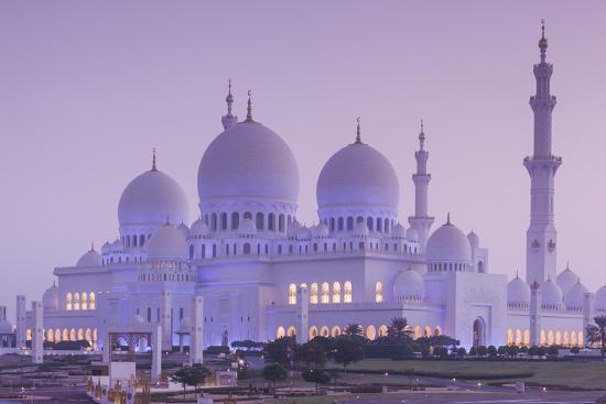 UAE, Abu Dhabi, Sheikh Zayed bin Sultan Mosque, exterior, dawn-Walter Bibikw-Photographic Print