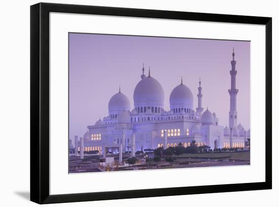 UAE, Abu Dhabi, Sheikh Zayed bin Sultan Mosque, exterior, dawn-Walter Bibikw-Framed Photographic Print