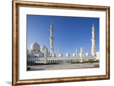 UAE, Abu Dhabi. Sheikh Zayed bin Sultan Mosque-Walter Bibikow-Framed Premium Photographic Print