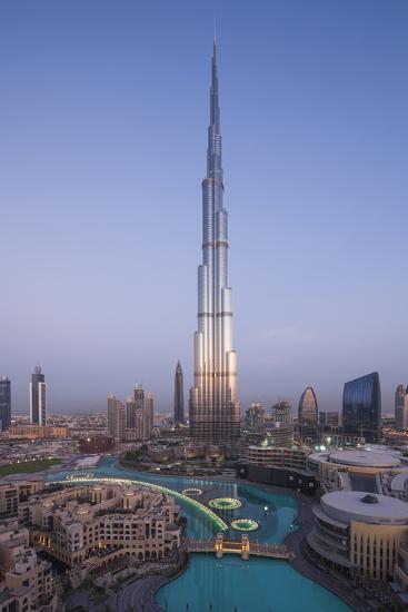 UAE, Downtown Dubai. Cityscape with Burj Khalifa.-Walter Bibikow-Premium Photographic Print