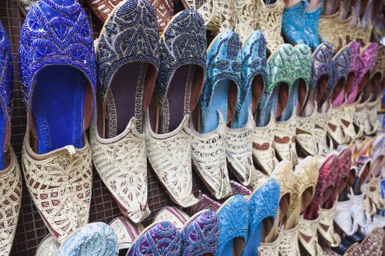 UAE, Dubai, Deira. Souvenir traditional slippers-Walter Bibikow-Premium Photographic Print