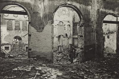 Udine, Interior of the Theatre Minerva Bombed--Photographic Print