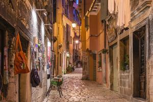 Croatia, Istria, Adriatic Coast, Rovinj, Old Town Lane in the Evening by Udo Siebig